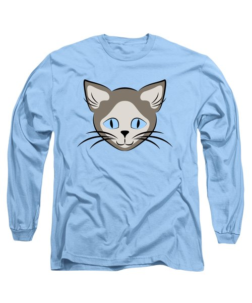 Siamese Cat Face With Blue Eyes Dark Long Sleeve T-Shirt