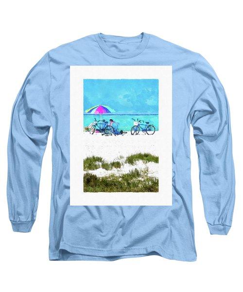 Siesta Key Beach Bikes Long Sleeve T-Shirt by Susan Molnar