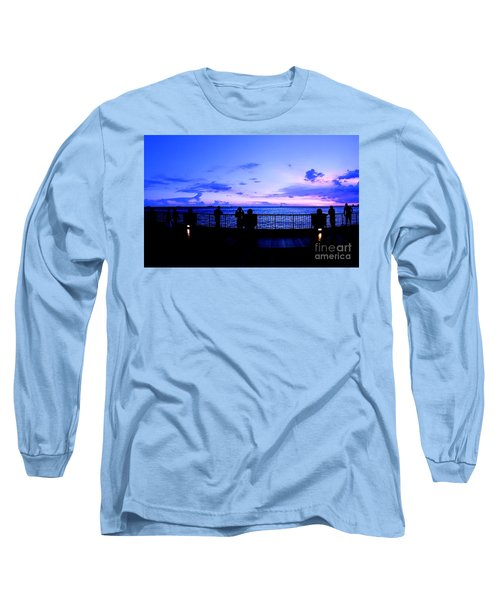 Long Sleeve T-Shirt featuring the photograph Silhouette Of People At Sunset by Yali Shi
