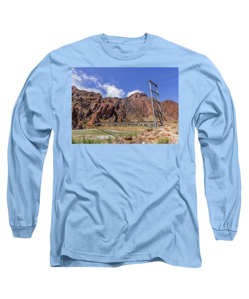 Silver Bridge Over Colorado River - At The Bright Angel Trail Long Sleeve T-Shirt