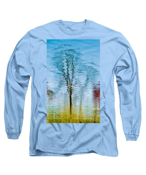 Silver Lake Tree Reflection Long Sleeve T-Shirt by Michael Bessler