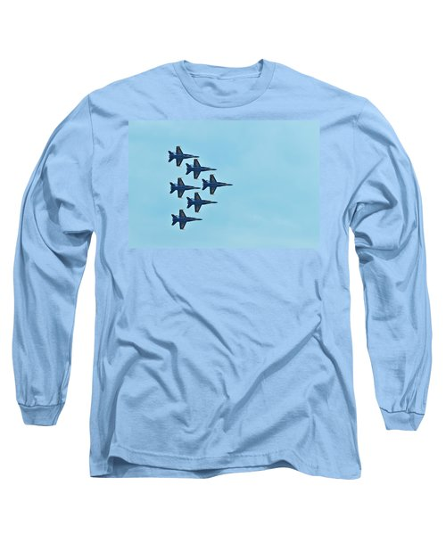 Six Blue Angels In The Clear Blue Sky Long Sleeve T-Shirt