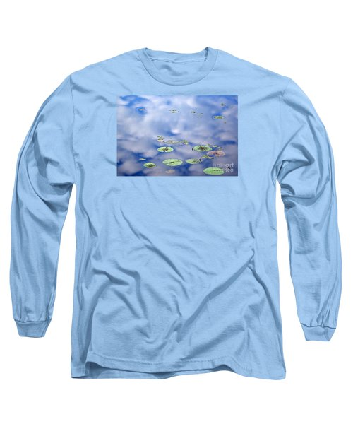 Long Sleeve T-Shirt featuring the photograph Sky And The Lily Pads by Lila Fisher-Wenzel
