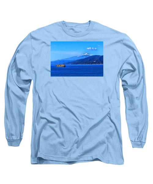 Sleeping Giant Long Sleeve T-Shirt by Laura Ragland