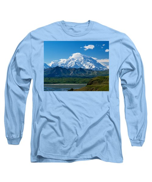 Snow-covered Mount Mckinley, Blue Sky Long Sleeve T-Shirt