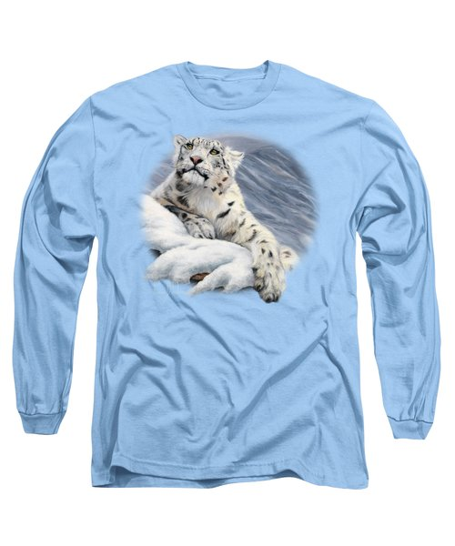 Snow Leopard Long Sleeve T-Shirt by Lucie Bilodeau