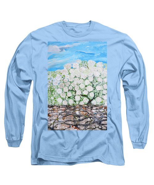 Long Sleeve T-Shirt featuring the painting Snowballs Flowers by Evelina Popilian