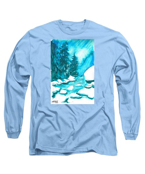 Long Sleeve T-Shirt featuring the mixed media Snowy Creek Banks by Seth Weaver