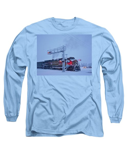 Snowy Train Crossing  Long Sleeve T-Shirt