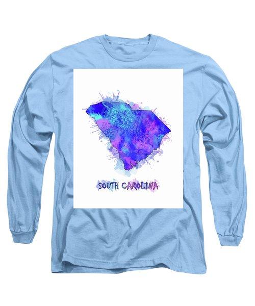South Carolina Map Watercolor 2 Long Sleeve T-Shirt