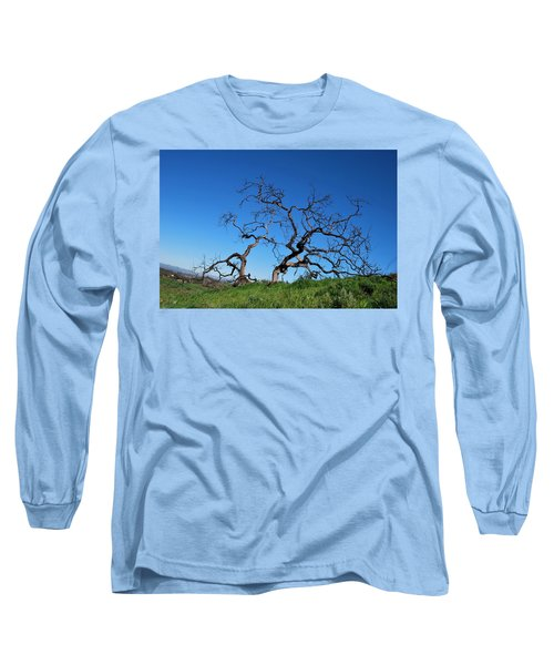 Split Single Tree On Hillside Long Sleeve T-Shirt