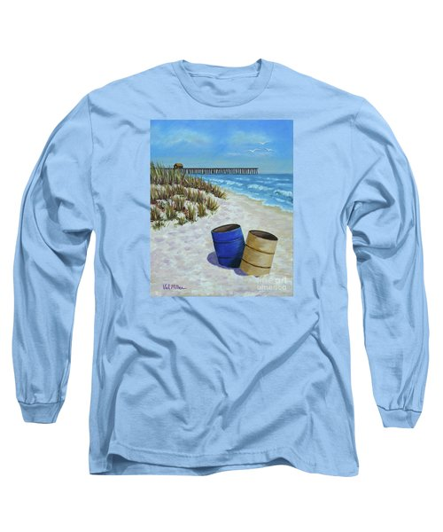 Long Sleeve T-Shirt featuring the painting Spring Day On The Beach by Val Miller