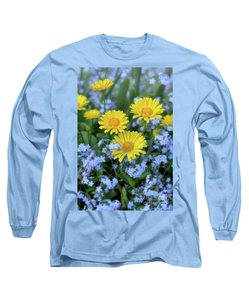 Long Sleeve T-Shirt featuring the photograph Spring Flowers Forget Me Nots And Leopard's Bane by Henry Kowalski