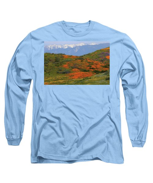 Spring Wildflower Display At Diamond Lake In California Long Sleeve T-Shirt by Jetson Nguyen