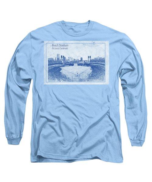 Long Sleeve T-Shirt featuring the photograph St. Louis Cardinals Busch Stadium Blueprint Words by David Haskett