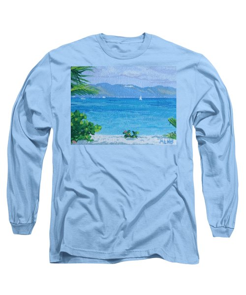 St Martin From Anguilla Long Sleeve T-Shirt by Margaret Brooks