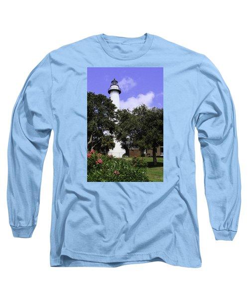 St Simons Isle Lighthouse Long Sleeve T-Shirt by Elizabeth Eldridge