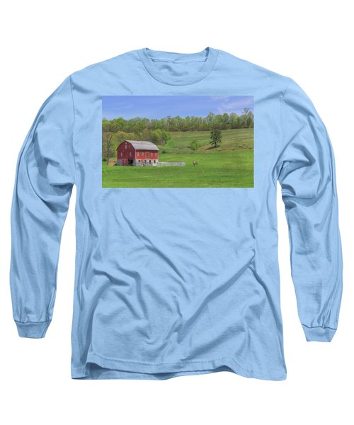 Long Sleeve T-Shirt featuring the digital art Star And Moon Barn by Sharon Batdorf