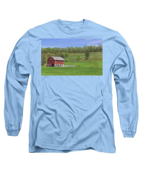 Star And Moon Barn Long Sleeve T-Shirt by Sharon Batdorf