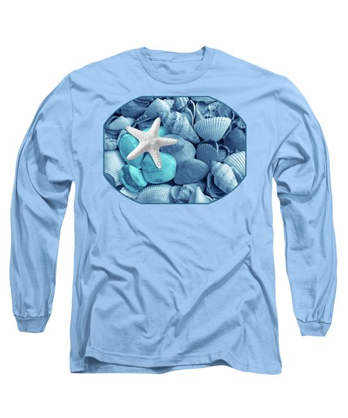 Starfish On The Beach In Blue Long Sleeve T-Shirt