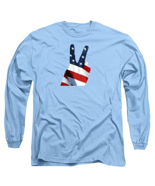 Long Sleeve T-Shirt featuring the photograph Stars And Stripes Peace Sign .png by Al Powell Photography USA