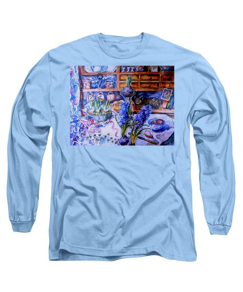 Still Life With Hyacinths  Long Sleeve T-Shirt by Trudi Doyle