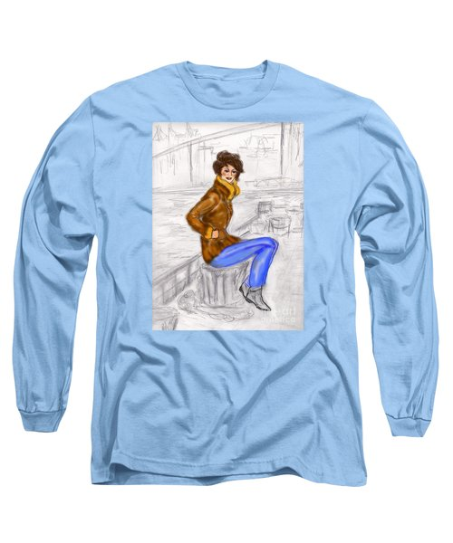 Long Sleeve T-Shirt featuring the drawing Strike A Pose by Desline Vitto