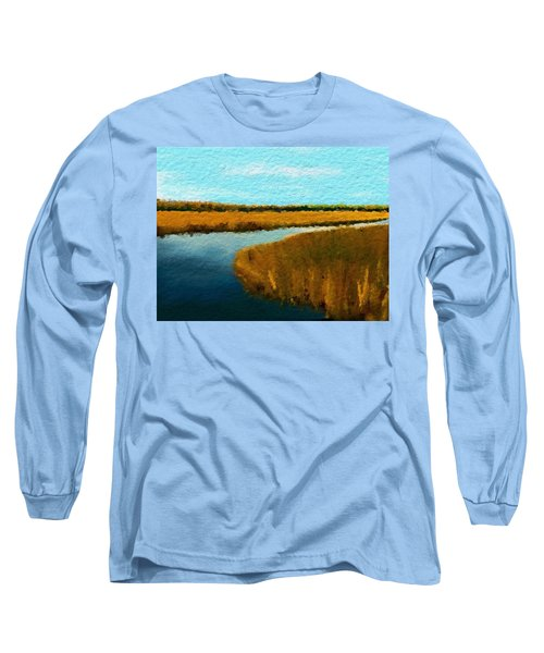 Summer Marsh South Carolina Lowcountry Long Sleeve T-Shirt by Anthony Fishburne