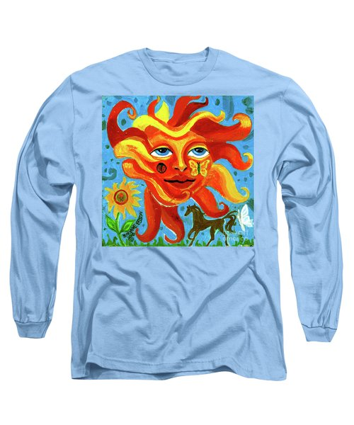 Long Sleeve T-Shirt featuring the painting Sunface With Butterfly And Horse by Genevieve Esson