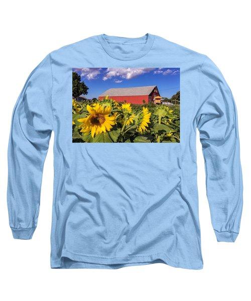 Sunflower Red Barn Long Sleeve T-Shirt