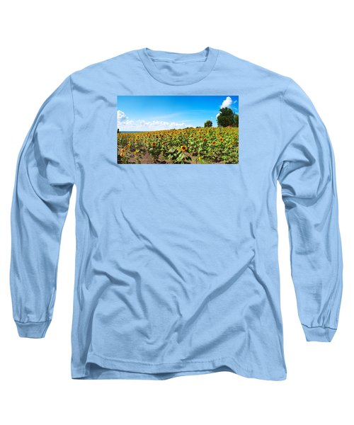Long Sleeve T-Shirt featuring the photograph Sunflowers In Ithaca New York by Paul Ge