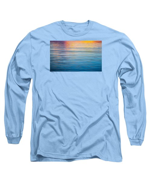 Sunrise Abstract On Calm Waters Long Sleeve T-Shirt by Parker Cunningham