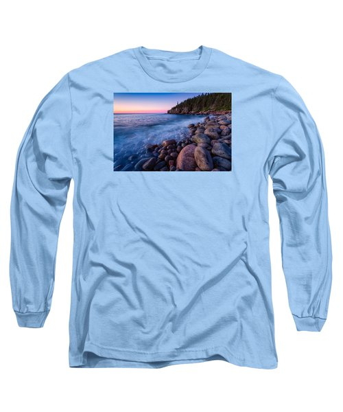 Sunrise At Boulder Beach Acadia Np Long Sleeve T-Shirt