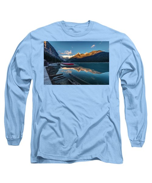 Long Sleeve T-Shirt featuring the photograph Sunrise At The Canoe Shack Of Lake Louise by Pierre Leclerc Photography
