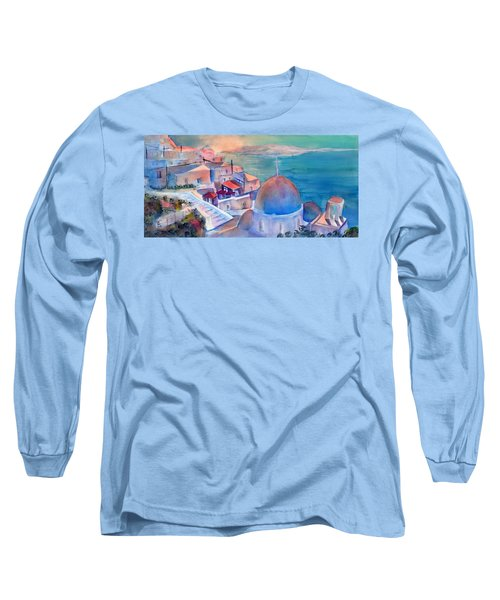 Sunrise In Oia Santorini Greece Long Sleeve T-Shirt