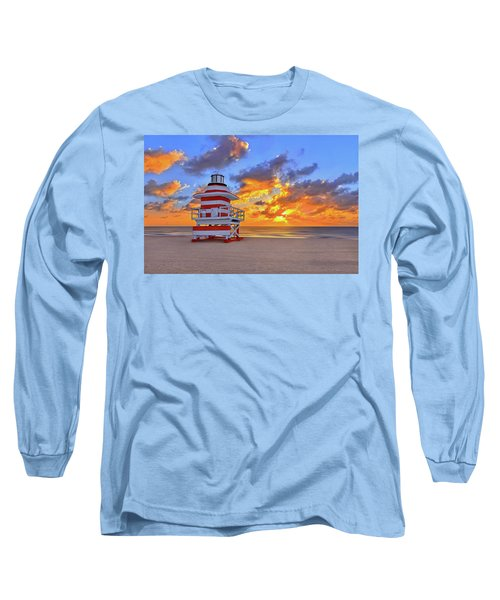 Long Sleeve T-Shirt featuring the photograph Sunrise Over Lifegaurd Stand On South Miami Beach  by Justin Kelefas