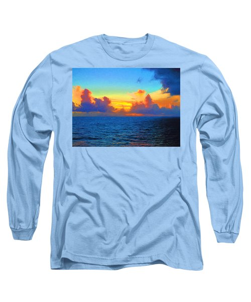 Sunset At Sea Long Sleeve T-Shirt by Greg Norrell