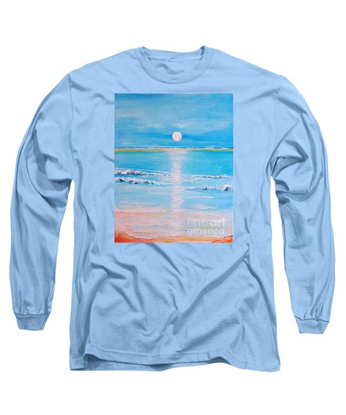 Long Sleeve T-Shirt featuring the painting Sunset At The Beach by Teresa Wegrzyn