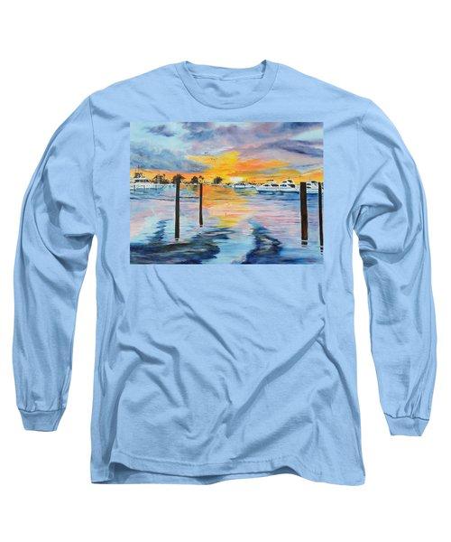 Sunset At The Yacht Club Long Sleeve T-Shirt by Lloyd Dobson
