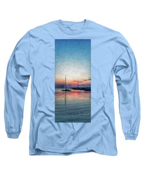 Sunset In Oil Tarpaulin Cove Long Sleeve T-Shirt