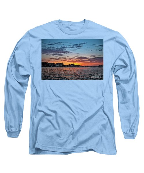 Sunset Over Huntington Harbour Long Sleeve T-Shirt by Peter Dang