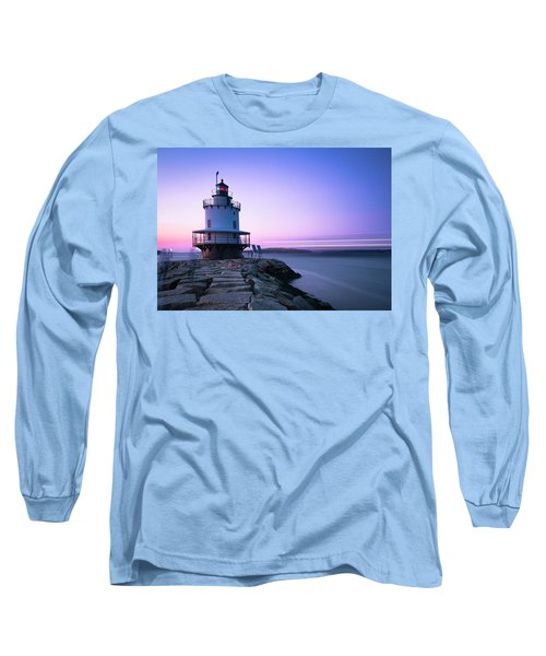 Sunset Over Spring Breakwater Lighthouse In South Maine Long Sleeve T-Shirt