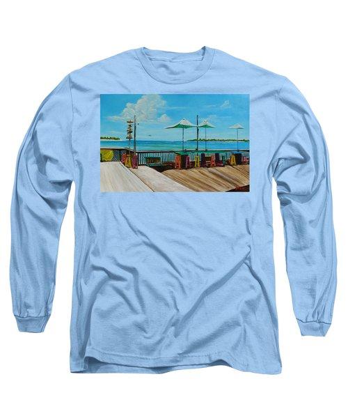 Sunset Pier Tiki Bar - Key West Florida Long Sleeve T-Shirt by Lloyd Dobson