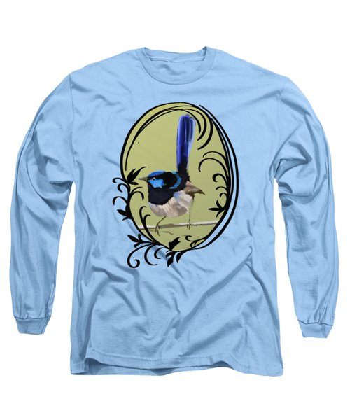 Superb Blue Wren Australian Bird Long Sleeve T-Shirt by Lorraine Kelly