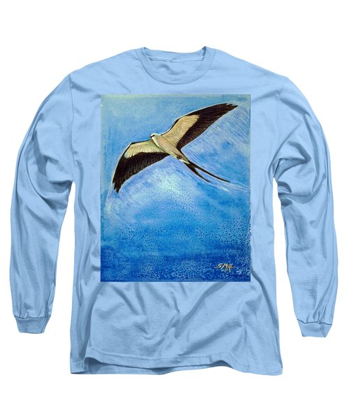 Long Sleeve T-Shirt featuring the mixed media Swallowtail Sighting by Suzanne McKee
