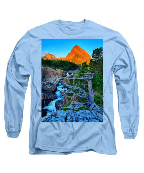 Long Sleeve T-Shirt featuring the photograph Swiftcurrent Falls by Greg Norrell