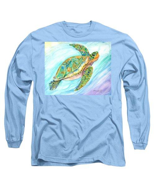 Swimming, Smiling Sea Turtle Long Sleeve T-Shirt