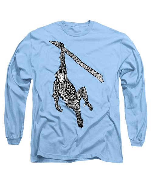 Swinging Chimpanzee Zentangle Long Sleeve T-Shirt by Kylee S