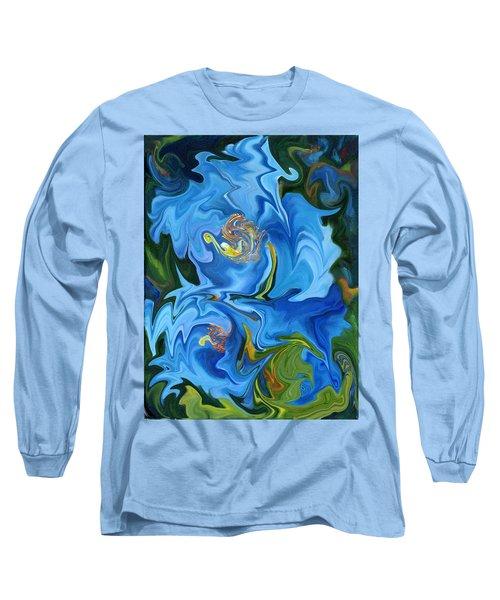 Swirled Blue Poppies Long Sleeve T-Shirt by Renate Nadi Wesley