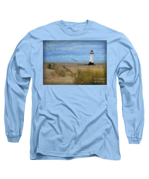 Long Sleeve T-Shirt featuring the digital art Talacre Lighthouse - Wales by Lianne Schneider